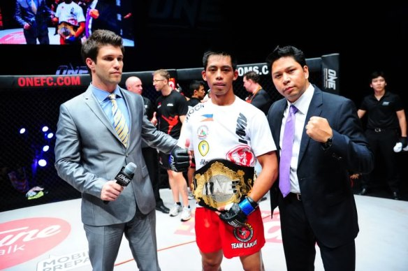 "Newly crowned One FC Featherweight Champion,  Honorio ""The Rock"" Banario - Photo by ONEFC.COM"