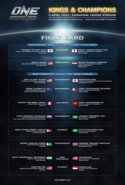 one fc 'kings and champions' fight card